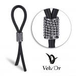 Эрекционное кольцо лассо с декорированной утяжкой, черный с серебристым, 13 см