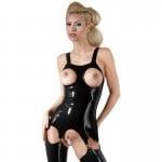 Корсет с открытой грудью LateX с подтяжками, латексный, черный, размер 2XL