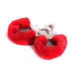 Металлические наручники с мехом, красные , крепкие