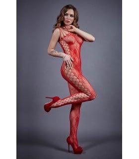 Kомбинезон красный по бокам крупная сетка LeFrivole S-L - No Taboo