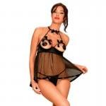 Сексуальна сорочка з відкритими грудьми і спиною, декорована, 2 предмети, чорний, Розмір S/M
