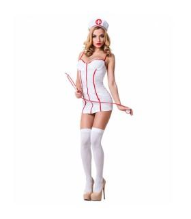 Костюм медсестры белый с красным 2 предмета LeFrivole S/M - No Taboo
