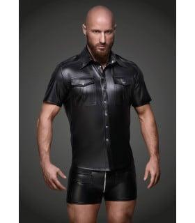 Рубашка на заклепках, виниловая, Noir Handmade, размер L - No Taboo