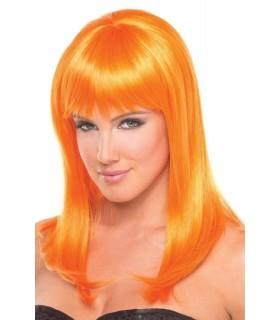 Парик с челкой Hollywood Wig, оранжевый, 33 см - No Taboo