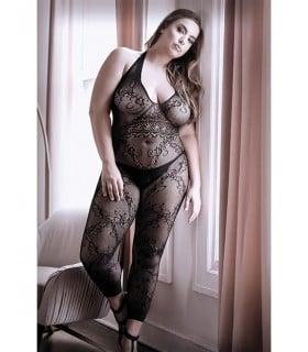 Комбинезон эротический с открытыми ступнями, черного цвета, M-XL