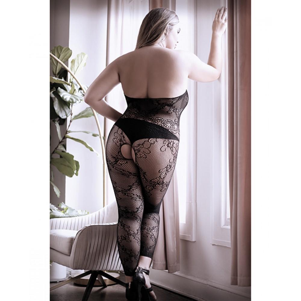 Комбинезон эротический с открытыми ступнями, черного цвета, M-XL (41521)