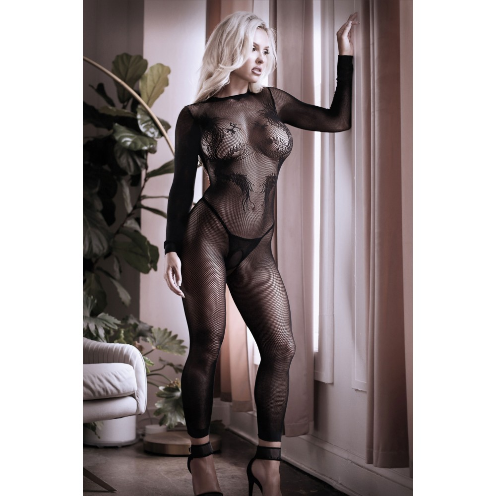 Бодистокинг сексуальный, с открытыми ступнями, черного цвета, S-L (41519)