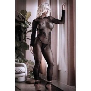 Бодистокинг сексуальный, с открытыми ступнями, черного цвета, S-L (41519), zoom
