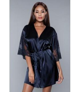 Эротический халат с кружевом, черный, L - No Taboo