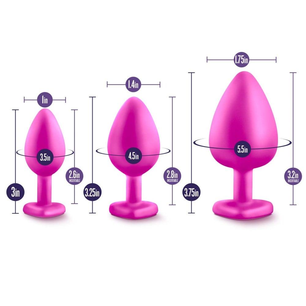 Анальна пробка Середня рожева LUXE BLING PLUGS (33777)