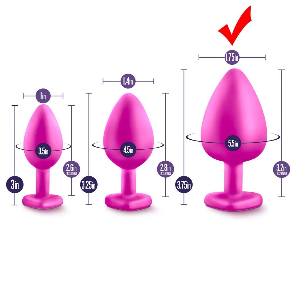 Анальна пробка велика рожева з набору LUXE BLING PLUGS (33776)