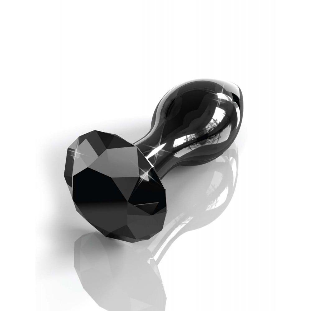Анальная пробка черная Pipedream Icicles стекло алмаз - No Taboo