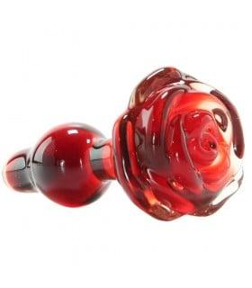 Анальная пробка красная Pipedream Icicles стекло роза - No Taboo