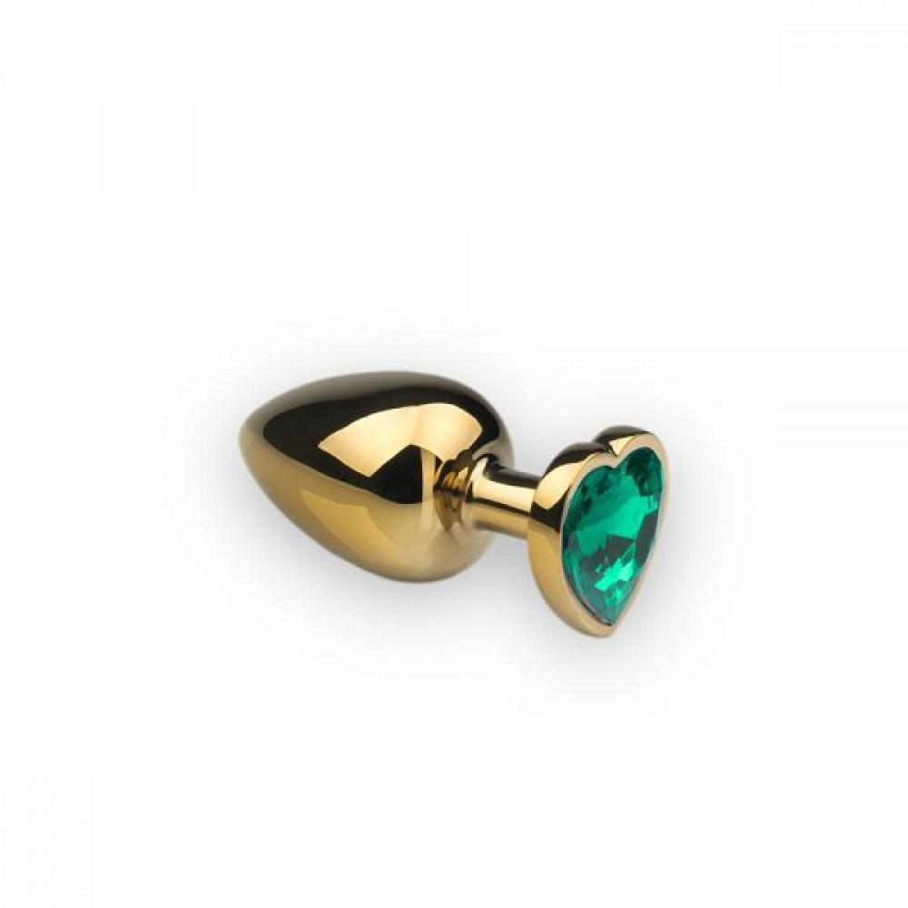 Анальная пробка с камнем в форме сердца Gold L Dark Green (32487), фото 1 — секс шоп Украина, NO TABOO