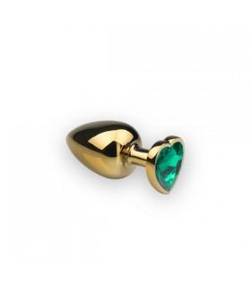 Анальная пробка с камнем в форме сердца Gold L Dark Green - No Taboo