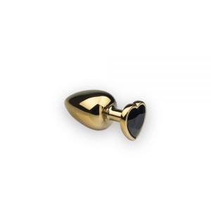 Анальная пробка с камнем в форме сердца Gold M Dark Black (32476), zoom