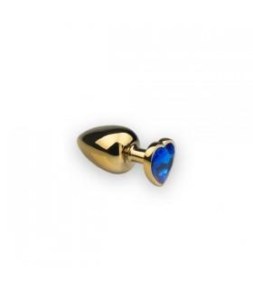 Анальная металлическая пробка с камнем в форме сердца Gold Dark Blue, L - No Taboo