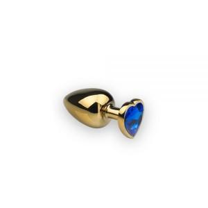 Анальная пробка с камнем в форме сердца Gold M Dark Blue (32473), zoom