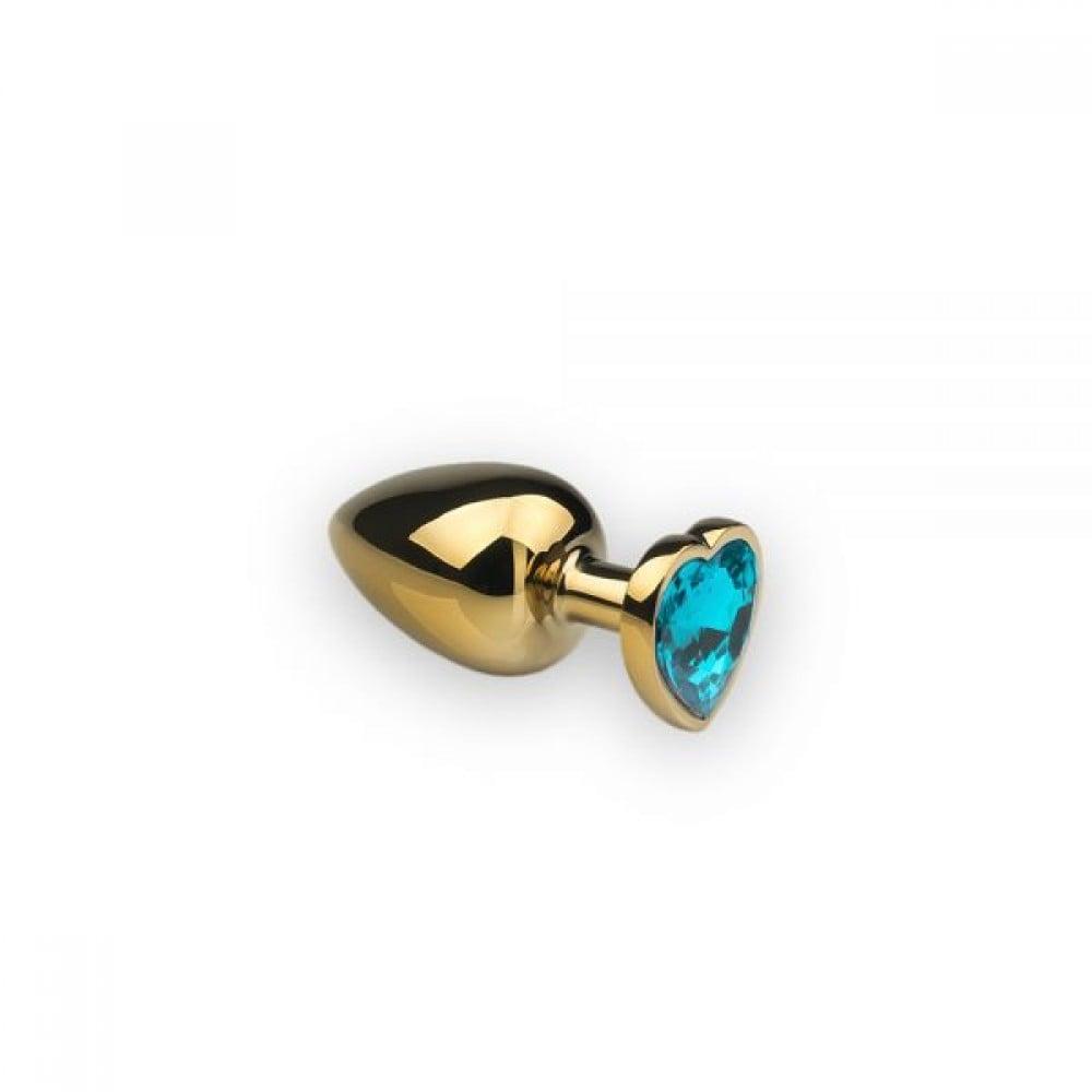 Анальная пробка с камнем в форме сердца Gold S Light Blue (32468)