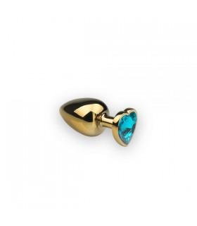 Анальная пробка с камнем в форме сердца Gold L Light Blue - No Taboo