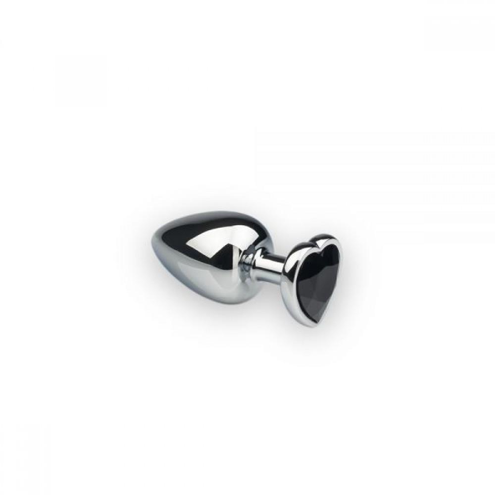 Анальна пробка з каменем у формі серця Silver L Dark Black (32477)
