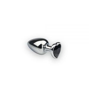 Анальна пробка з каменем у формі серця Silver L Dark Black (32477), zoom