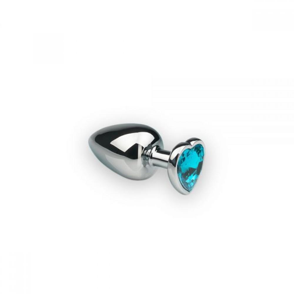 Анальная пробка с камнем в форме сердца Silver L Light Blue (32482)