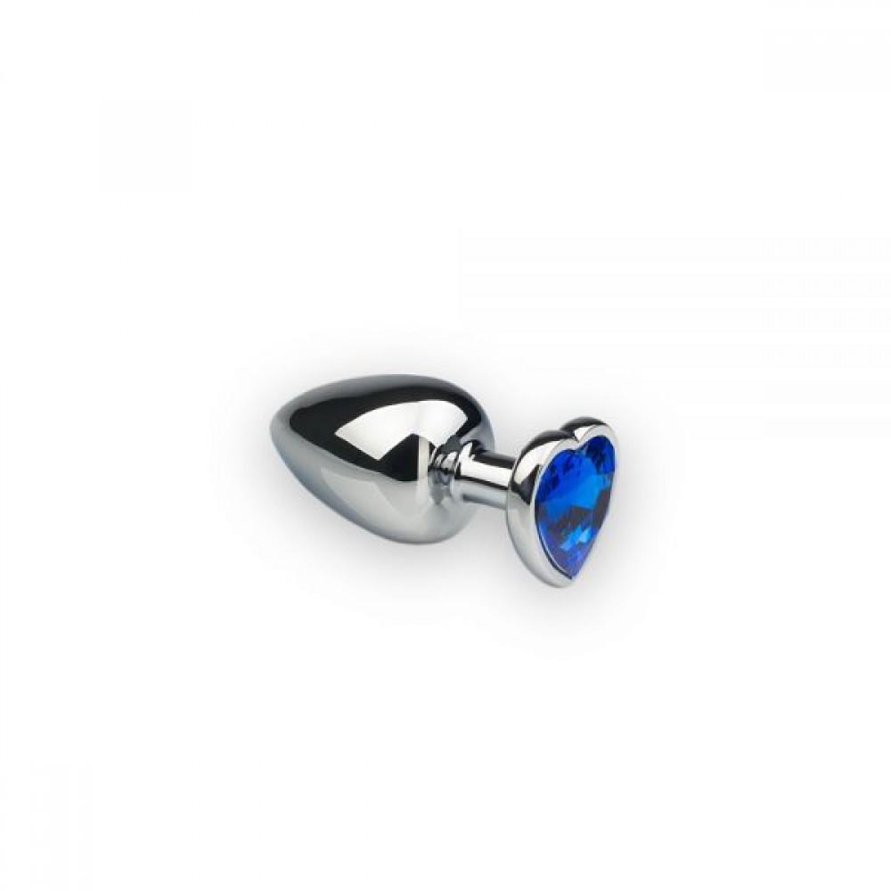 Анальная пробка с камнем в форме сердца Silver M Dark Blue (32472), фото 1