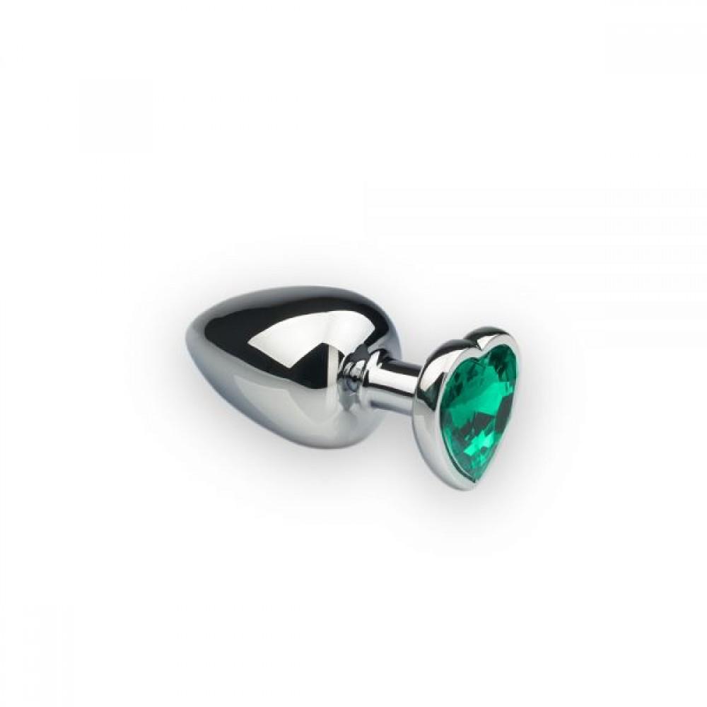 Анальная пробка с камнем в форме сердца Silver M Dark Green (32470), фото 1