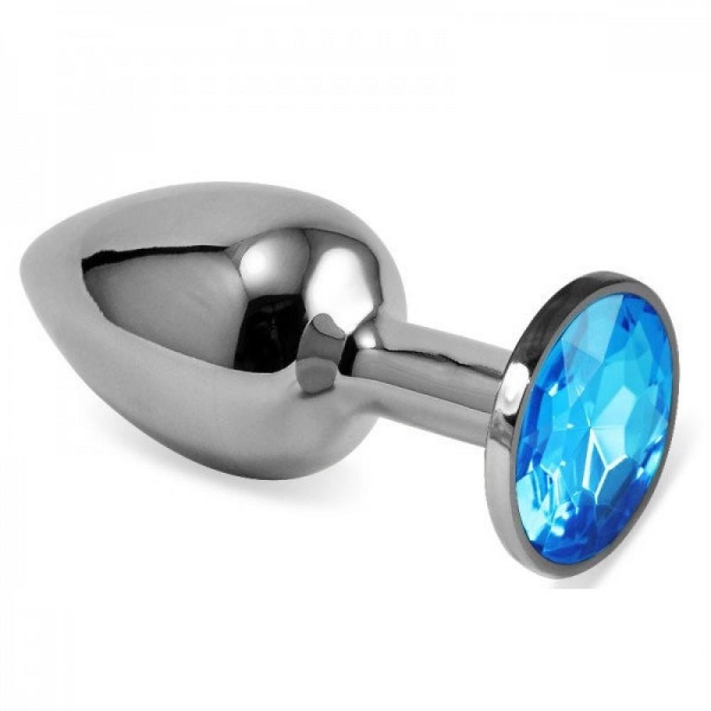 Анальная пробка Silver голубой камень M 8,5x3,5, фото 1