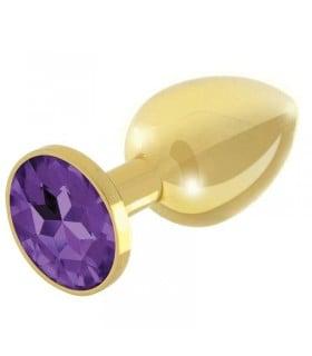 Анальная пробка с камнем, золотая, Rianne S, размер 8.2 см х 3.6 см