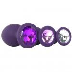 Набор силиконовых анальных пробок фиолетового цвета с камнями 3 шт Rianne S, Booty Plug PURPLE