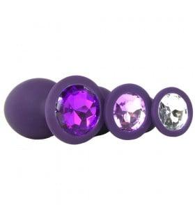 Набор анальных пробок Rianne S фиолетового цвета с камнями, 3 штуки