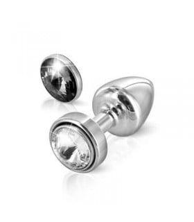 Французская анальная бижутерия из алюминия, серебристого цвета, со сменными камнями, белый / черный - No Taboo