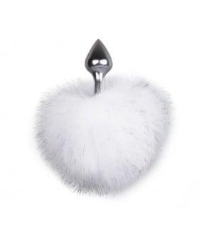 Металлическая анальная пробка с помпоном белый Bunny Tail Plug - No Taboo