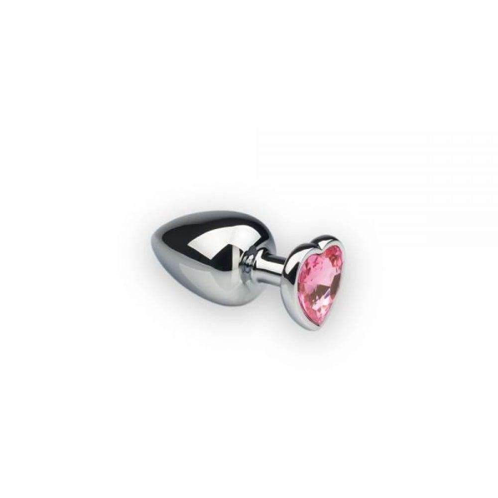 Металлическая анальная пробка сердце Silver Heart Pink, S, фото 1