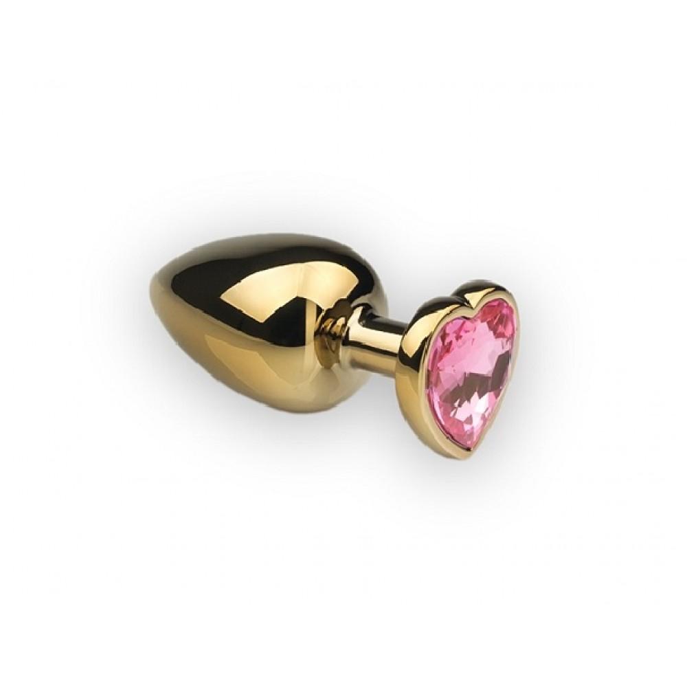 Металева анальна пробка серце топаз Рожевий, розмір S (32309)