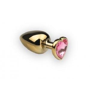Металлическая анальная пробка сердце топаз розовый, размер S (32309), zoom