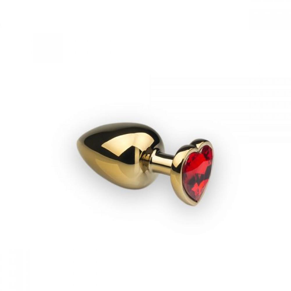 Анальная пробка с камнем в форме сердца Gold Red, L (32694)