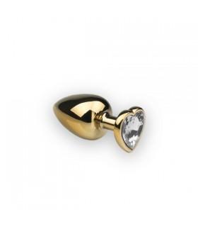 Анальна пробка з каменем у формі серця Gold Heart Diamond M - No Taboo