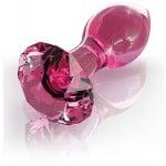 Анальная пробка Pipedream из стекла, форма алмаза, розовая, размеры 6.7 см х 3.3 см