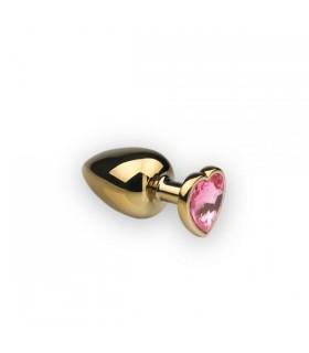 Металлическая анальная пробка сердце,Gold Heart Pink Topaz M - No Taboo