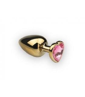 Металлическая анальная пробка сердце топаз розовый, размер S - No Taboo