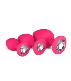 Набор анальных пробок, силиконовый, с камнями, розовый - No Taboo
