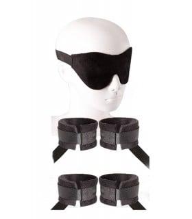 Бондажный набор Guilty Pleasure, поножи, наручники, маска, черный - No Taboo