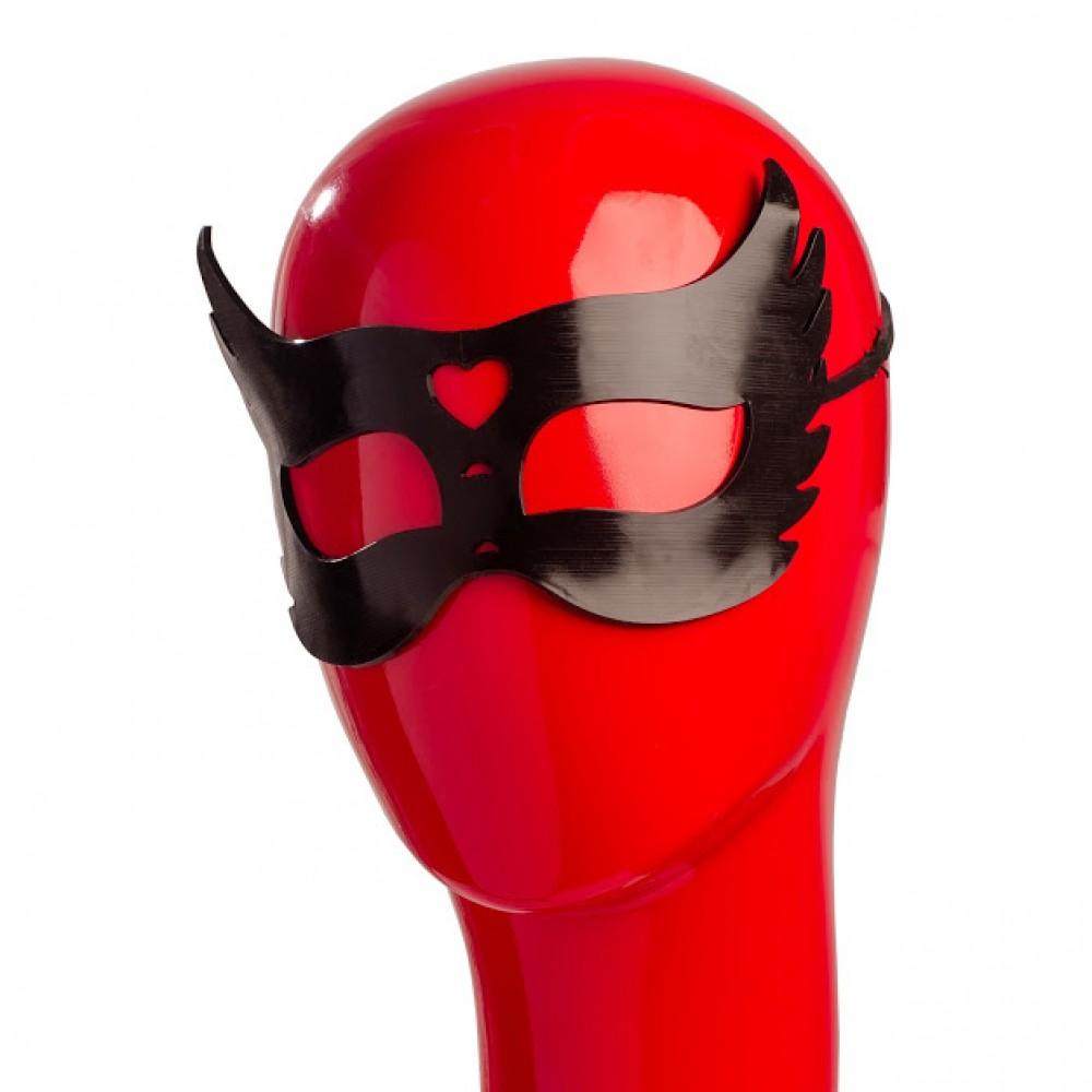 Гелевая черная маска с сердцем NO TABOO (31907), фото 1 — секс шоп Украина, NO TABOO