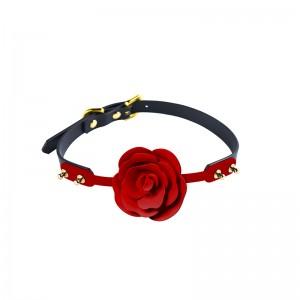 Кляп роза из силикона и итальянской кожи Rose Ball Gag UPKO (34761), zoom