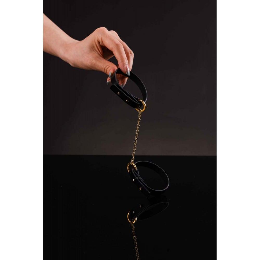 Браслет-наручники итальянская кожа, черный, UPKO (32447), фото 4