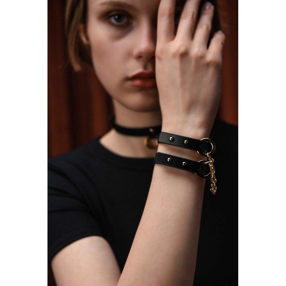 Браслет-наручники итальянская кожа, черный, UPKO (32447), фото 7