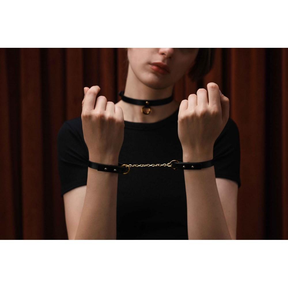 Браслет-наручники итальянская кожа, черный, UPKO (32447), фото 8